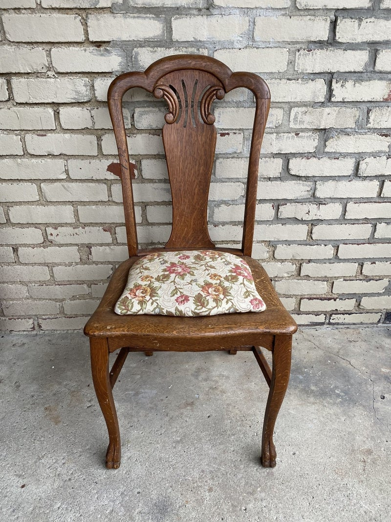Vintage oak chair with upholstery