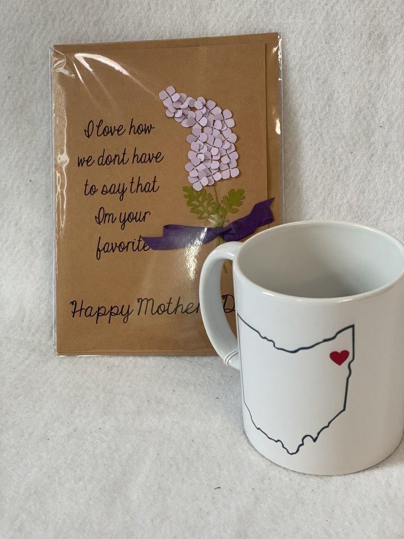 Ohio mug and Mother's Day card combo