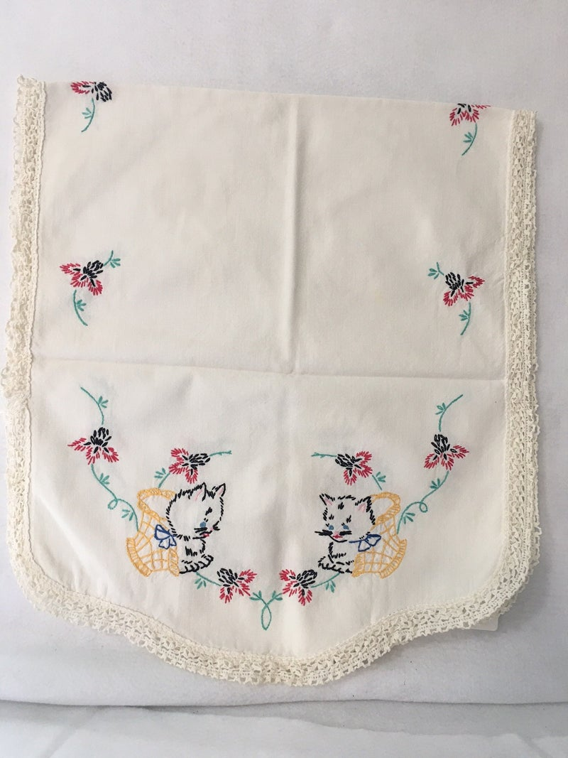 Vintage embroidered dresser scarf with kittens