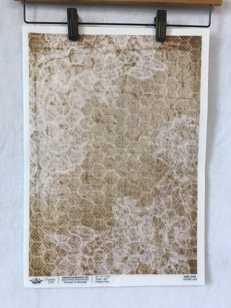 """""""Vintage lace""""  rice paper by Decoupage Queen"""
