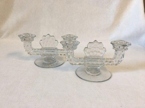 Pair of vintage lead glass candle sticks