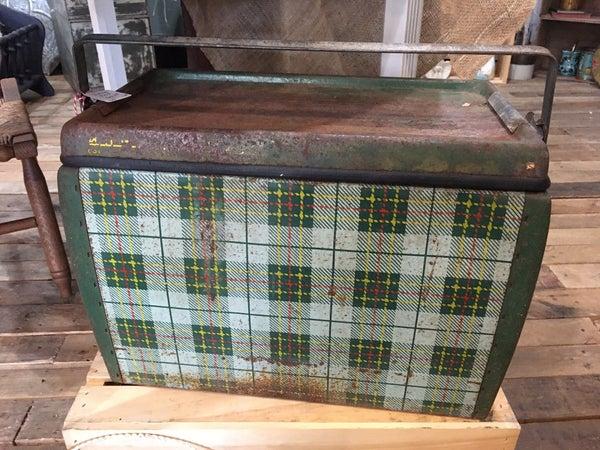 Vintage green plaid cooler