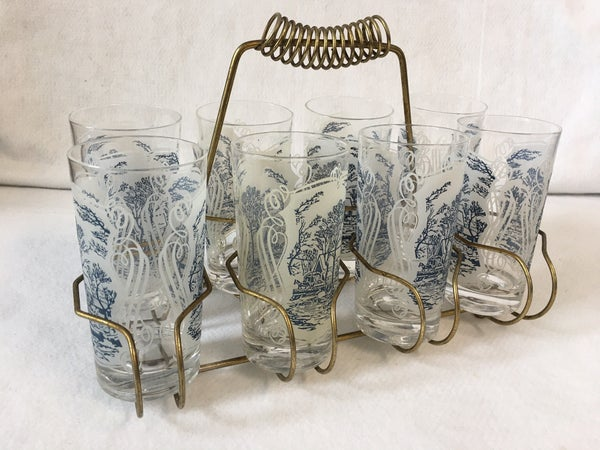Set of 8 glasses with carrier