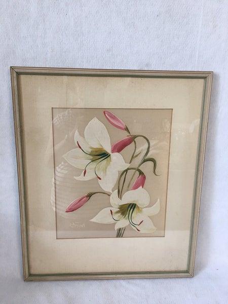 Henry LaForet oil on silk framed painting