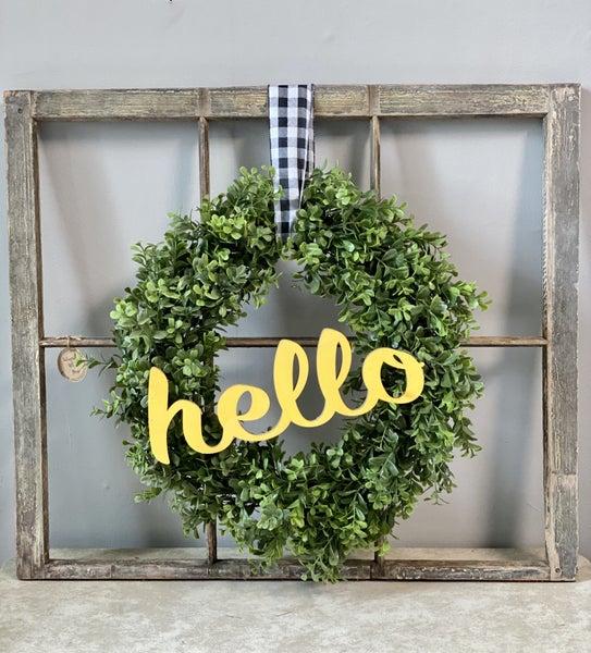 Vintage window frame w/wreath