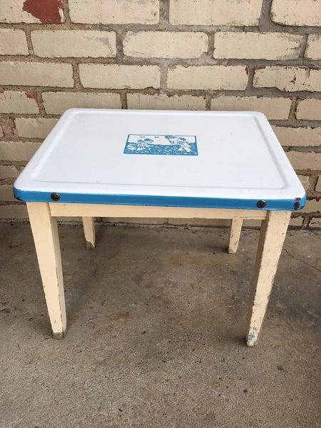 Vintage child size enamel top table
