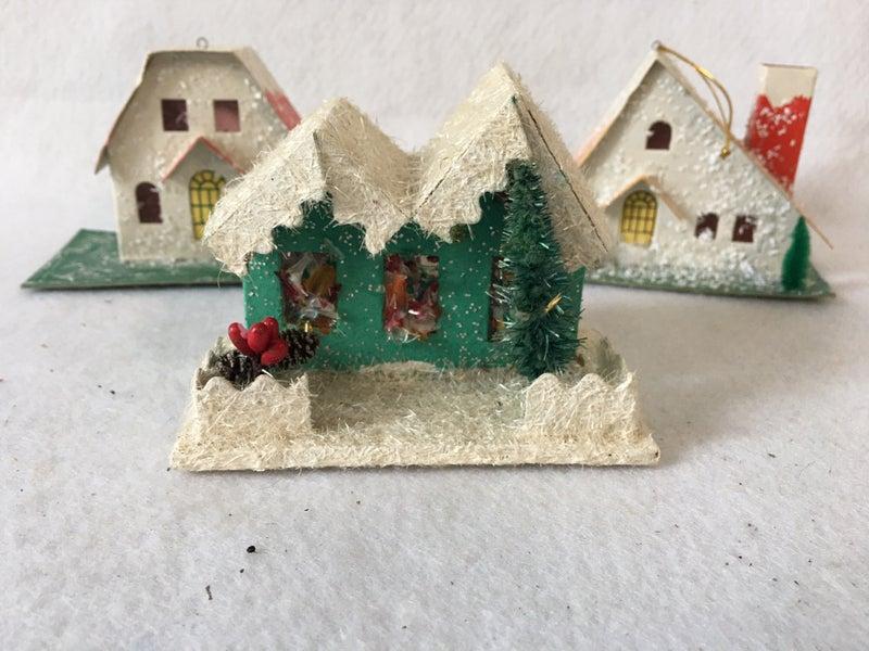 set of 3 Putz houses