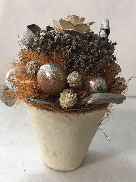 Vintage silver floral pot
