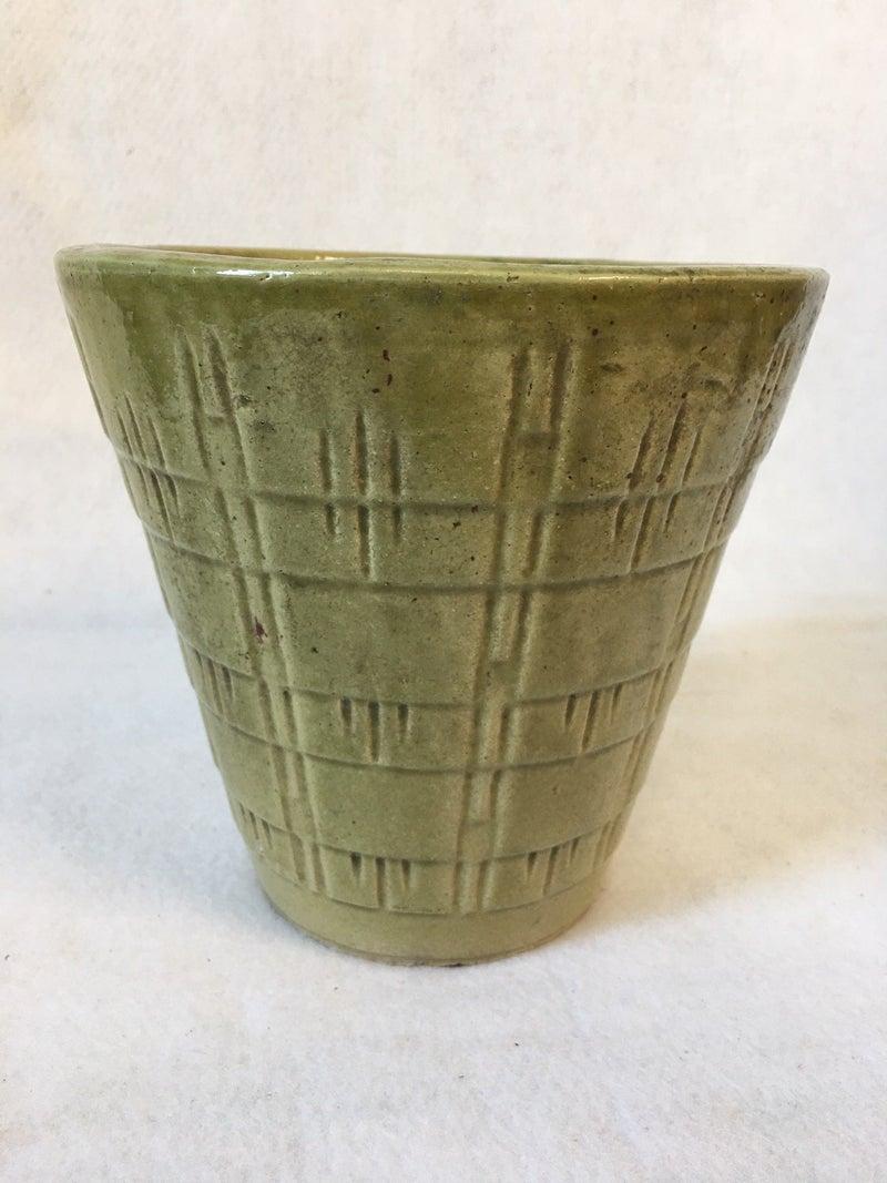 Vintage tall green planter