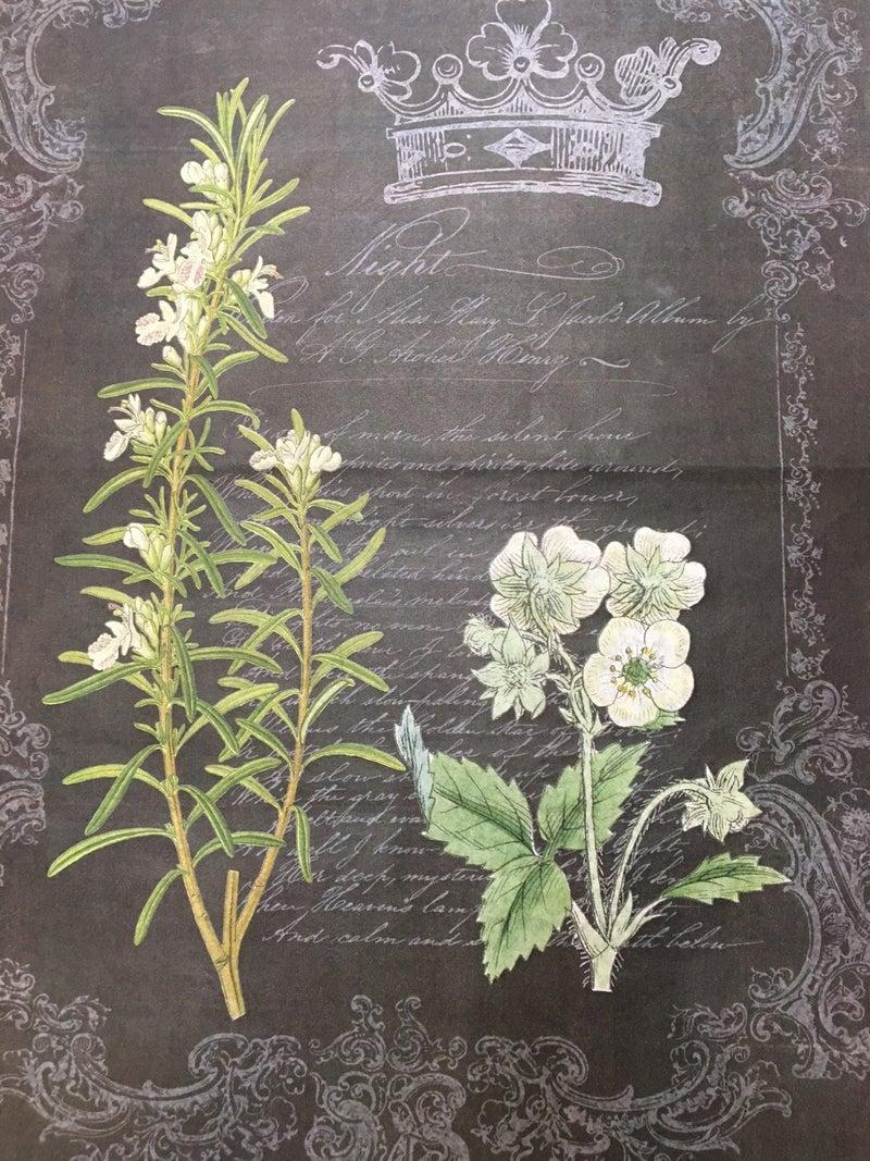 Decoupage Queen black w/floral large tissue paper