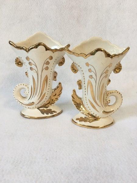 Pair of cornicopia vases, white with gold