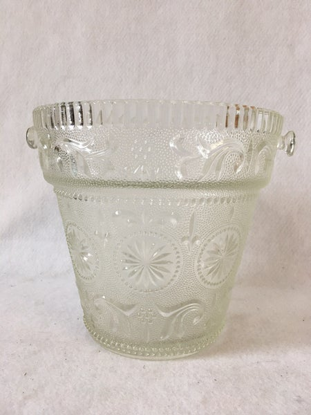 """Vintage glass ice/champagne bucket 7"""""""