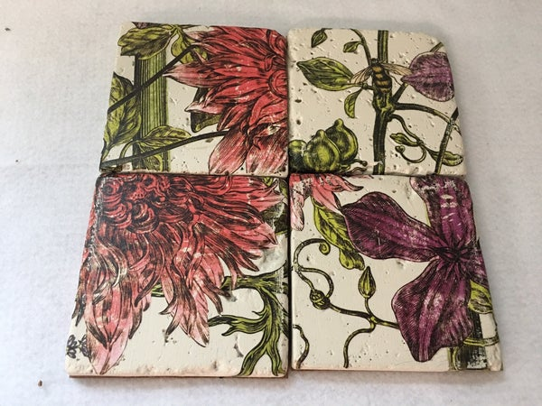 Set of 4 floral coasters