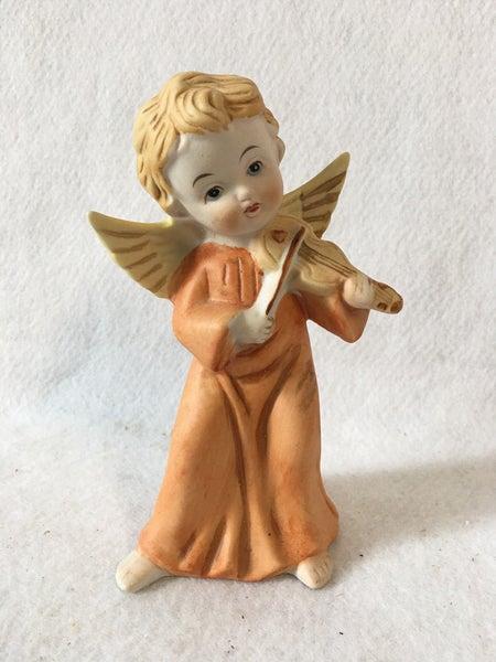 "Homco ceramic angel with violin, 6"""