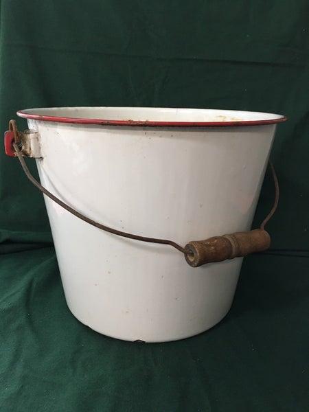 Vintage white enamel bucket w/red trim