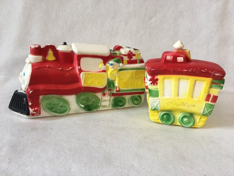 """Empire Blow Mold Christmas train and caboose 14"""""""