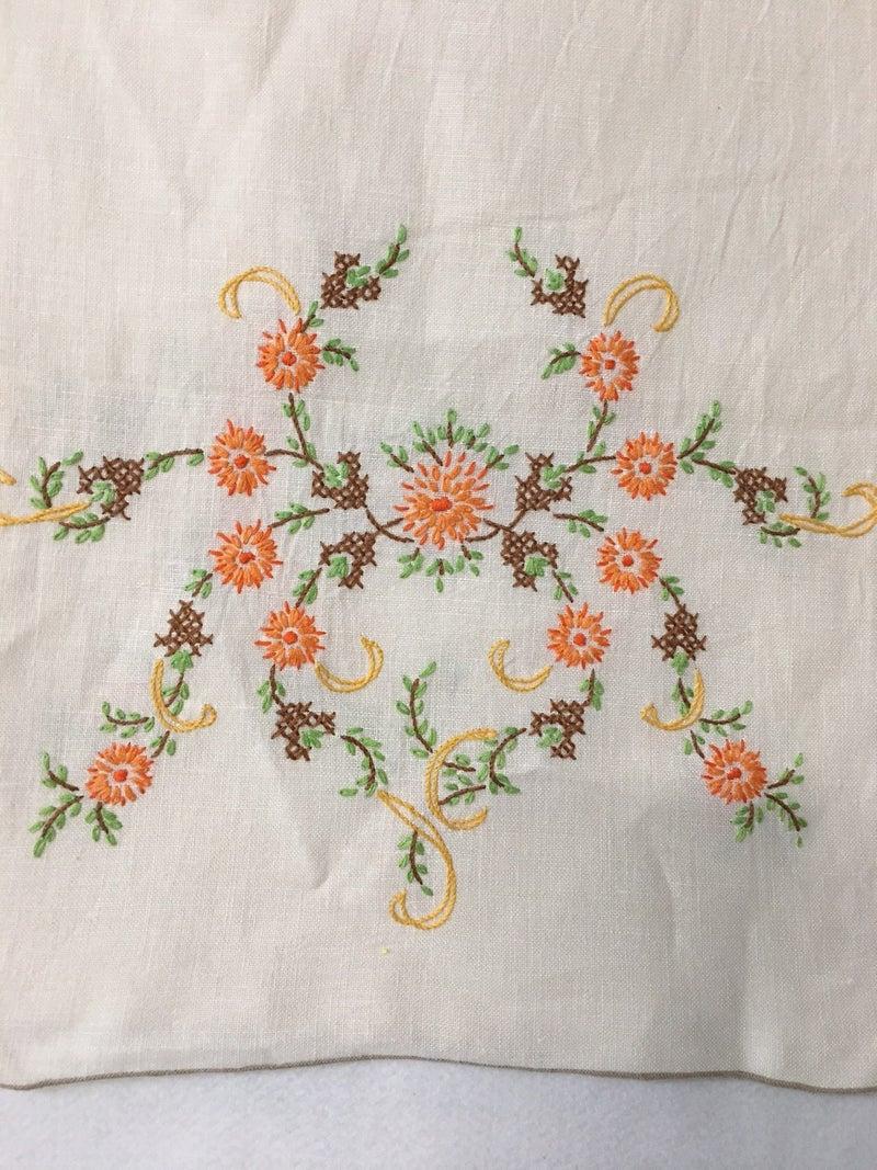 Vintage dresser scarf, orange floral