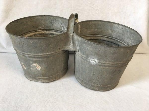 Vintage galvanized double bucket