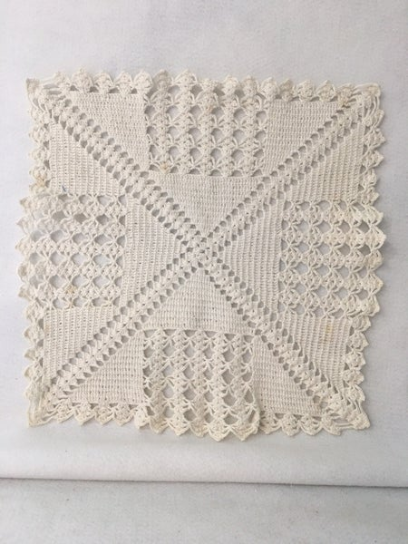 Vintage square crocheted doily