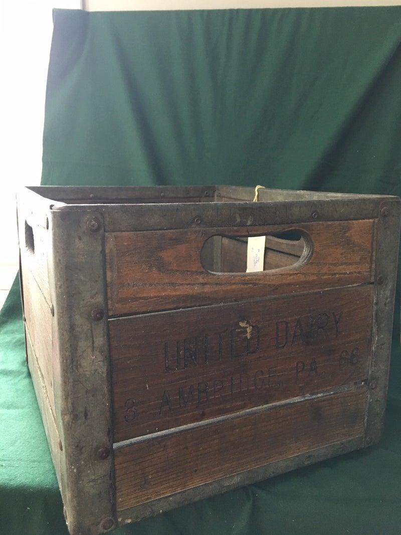 United Dairy wooden milk crate