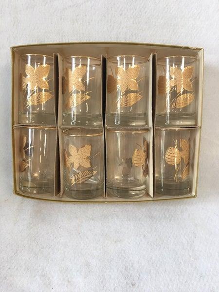 Vintage Libby goldleaf hostess set glasses