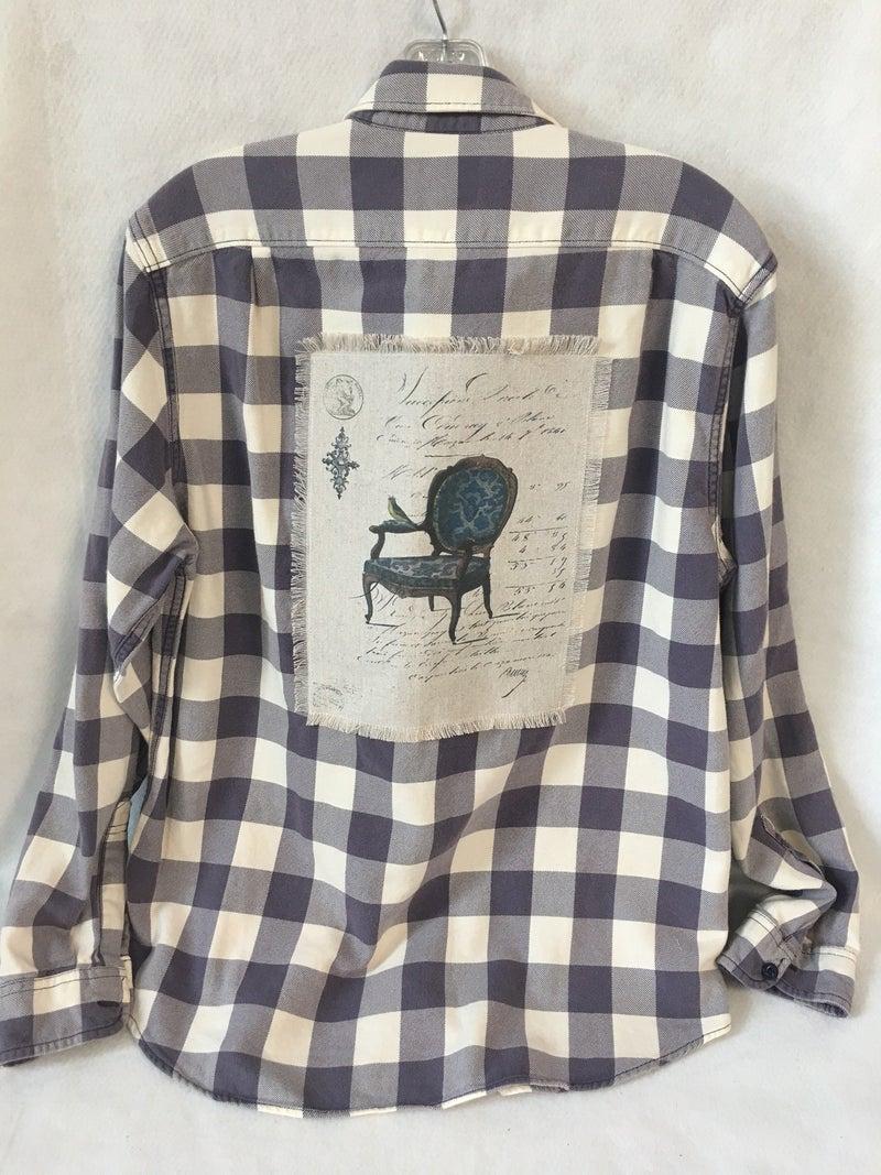 Women's purple & white checked flannel shirt w/Monahan print