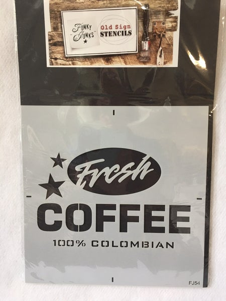 "Mudderiteville Studio ""Fresh Coffee"" mylar stencil"