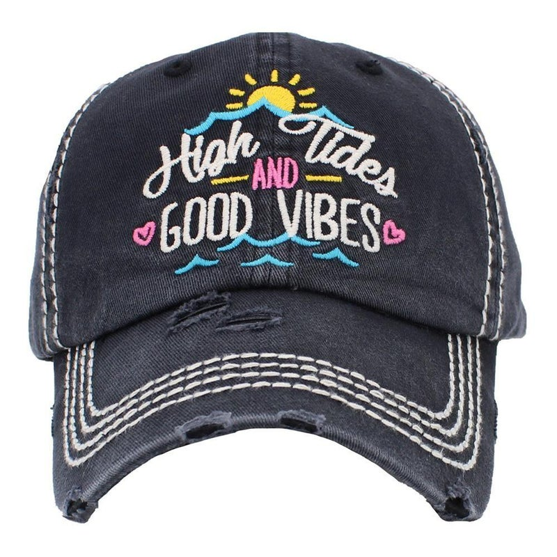 High Tides and Good Vibes Vintage Distressed Baseball Cap - Black