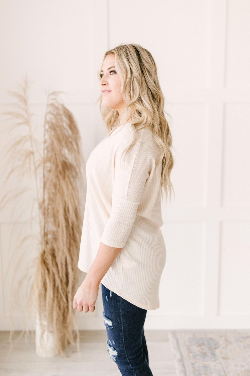 Willow Waffle Knit Top in Beige