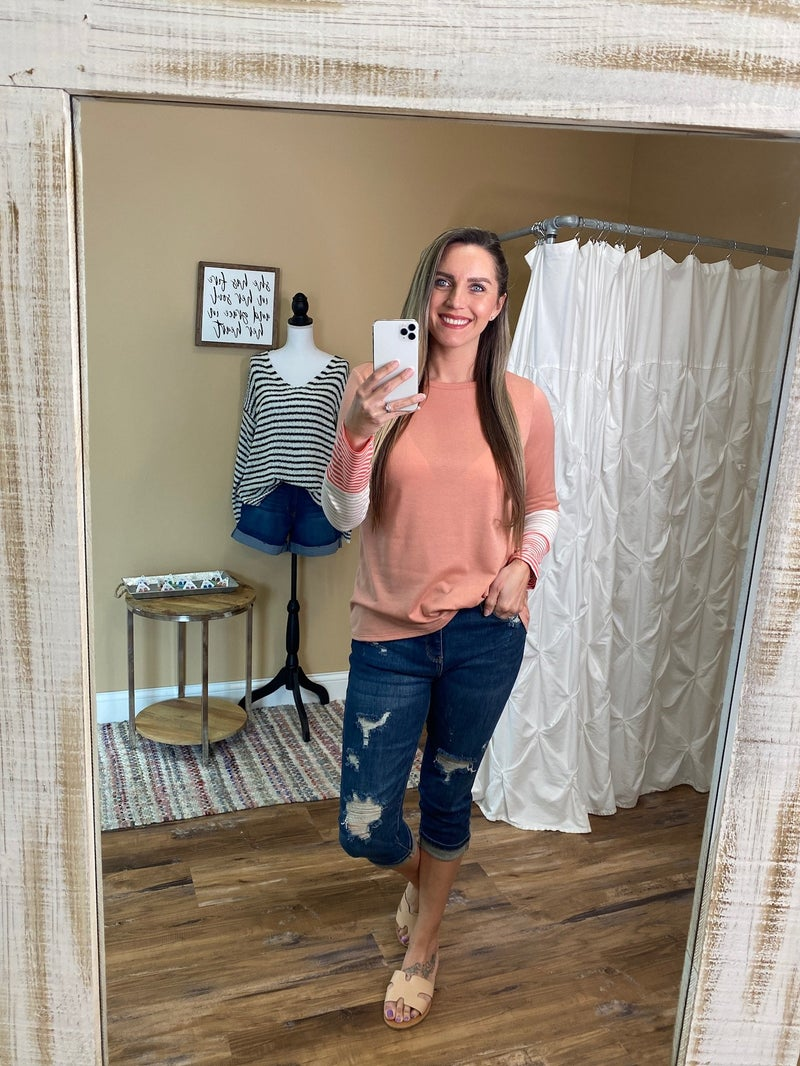 Isabella Striped Sleeve Accent Detail Top