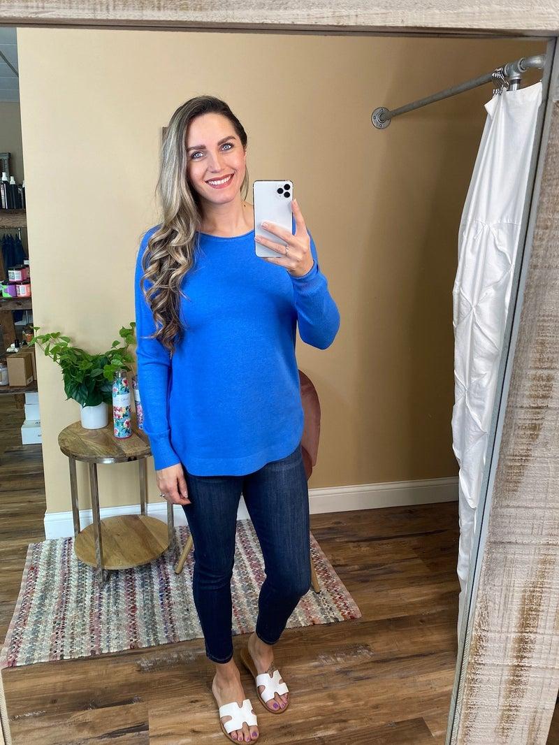 Chloe Boat Neck Pullover Sweater -Colbalt