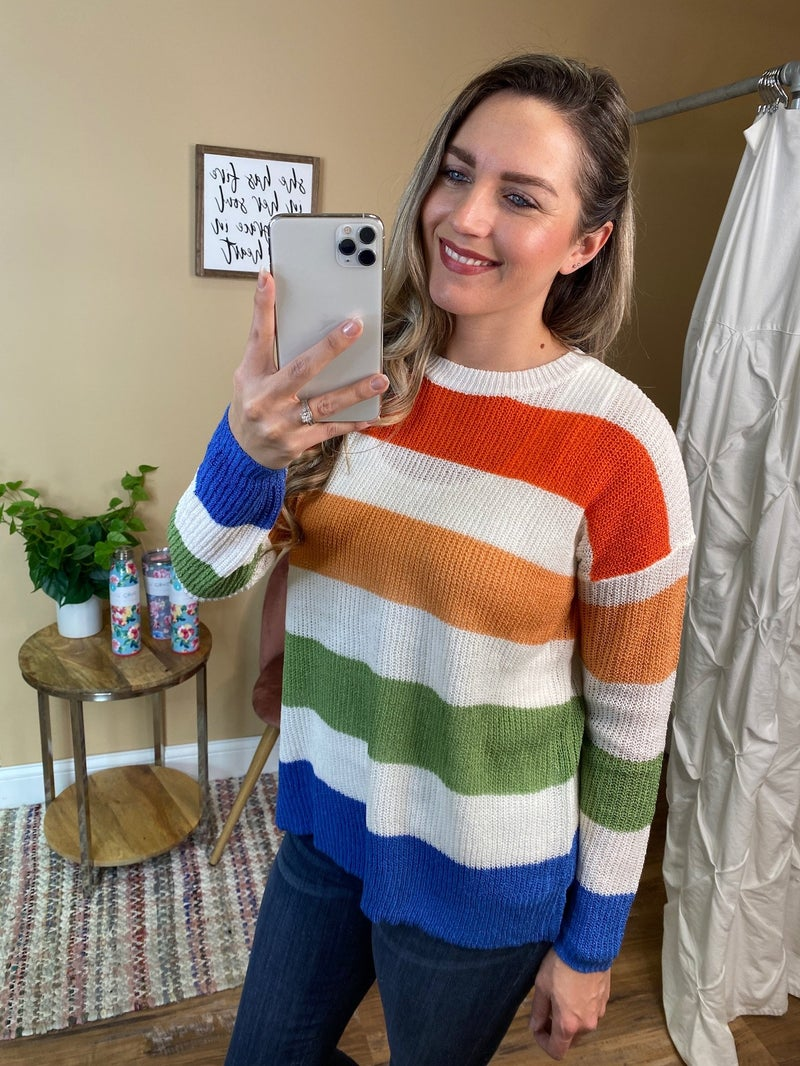 Amaya Multi Color Block Pullover Sweater