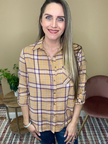 Charlee Plaid Button Up Top
