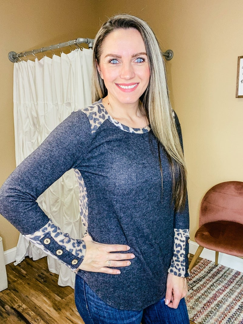 Tatum Brushed Top with Animal Print Accent