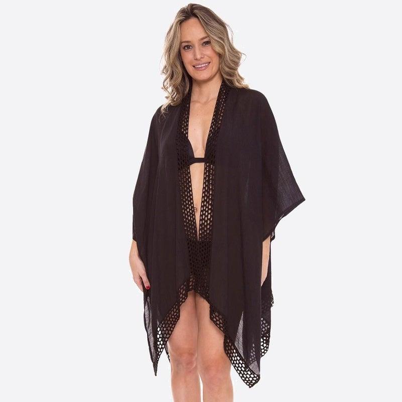 Amelia Sheer Crochet Trim Coverup Kimono