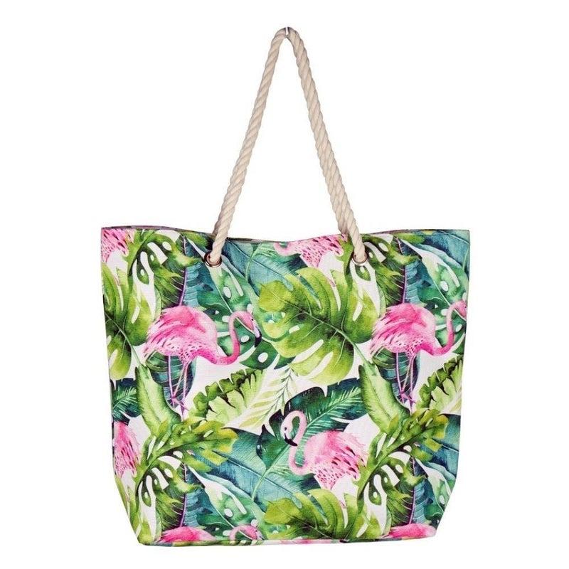Tropical Flamingo Beach Bag