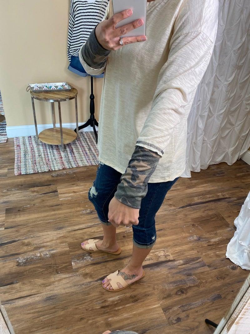 Cassidy Camo Accent Sleeve Top