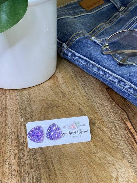 Glittery Triangles Earrings - Purple