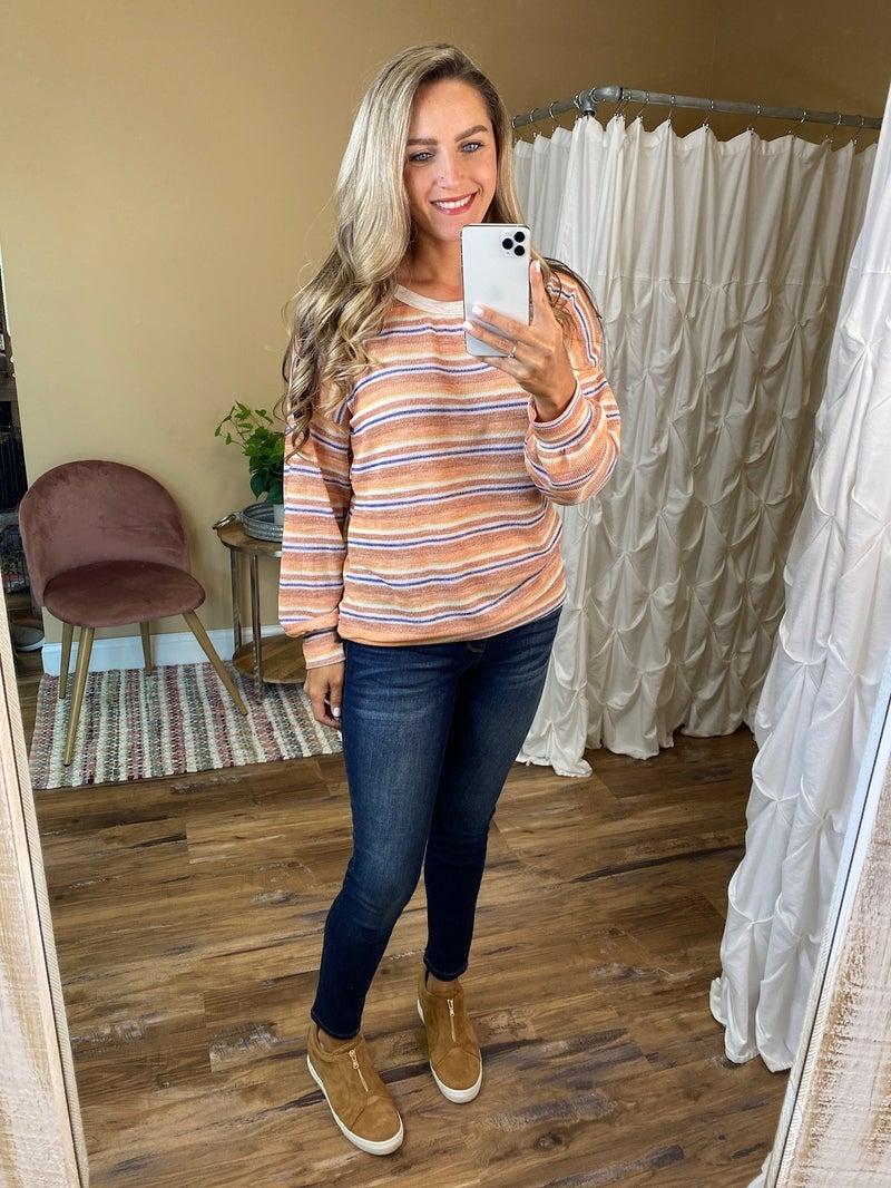 Layla Multi Striped Long Sleeve Knit Top