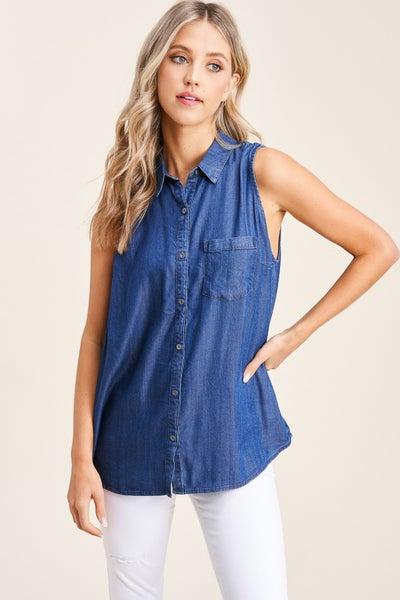 Adeline Short Sleeve Button Up Denim Top - Medium Wash
