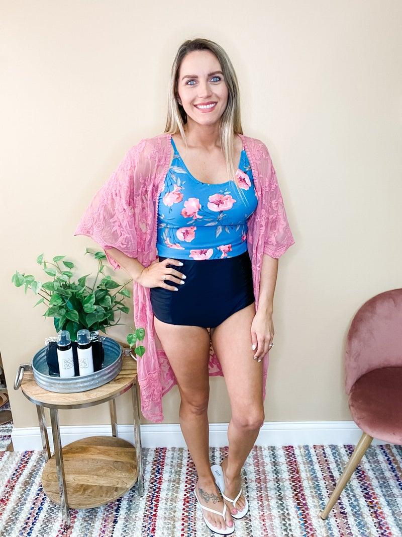 Olivia  Floral Tie Up Back Top
