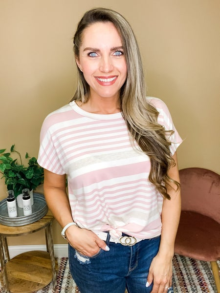 Gianna Striped Short Sleeve Top - Pink