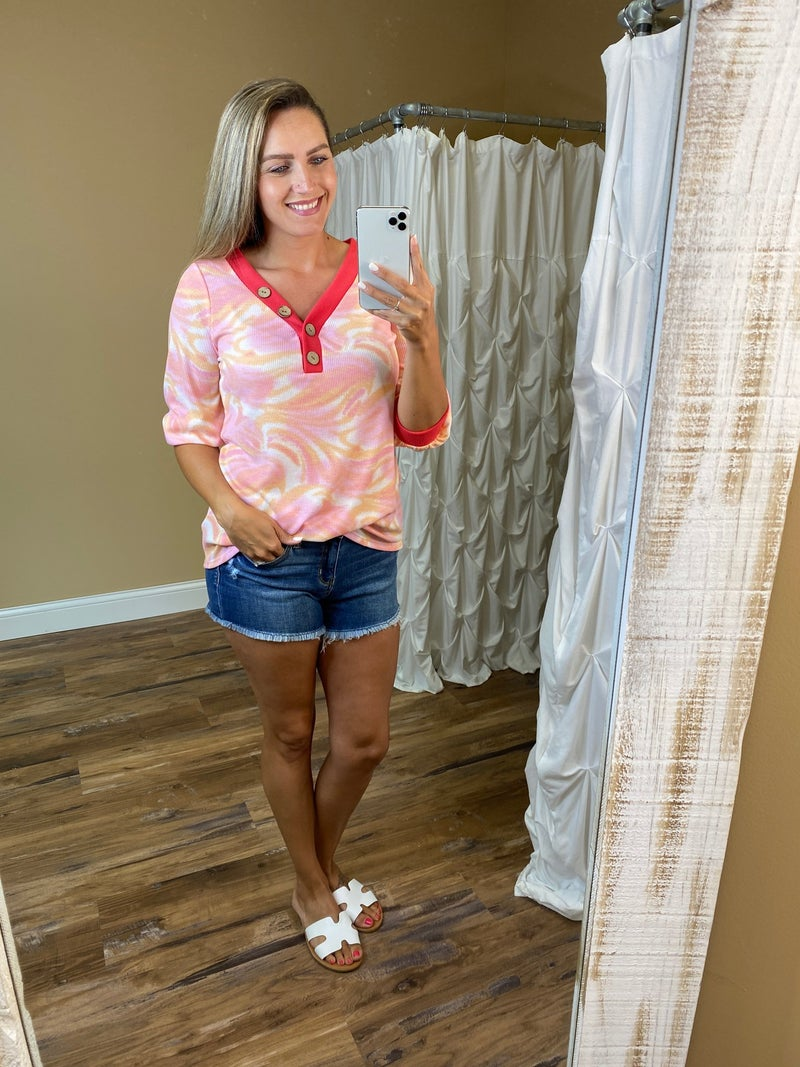 Reagan Tie Dye Watercolor V-Neck Top with Buttons