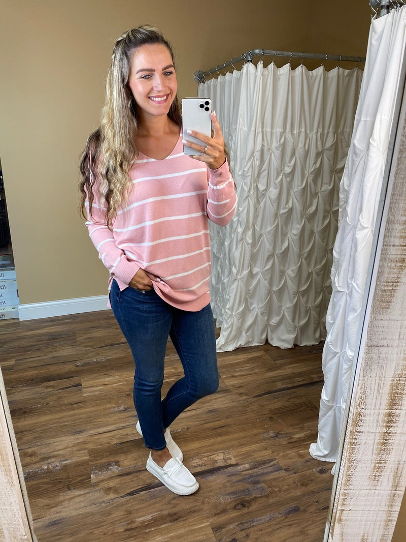 Brinley Striped V-Neck Sweater - Dusty Pink