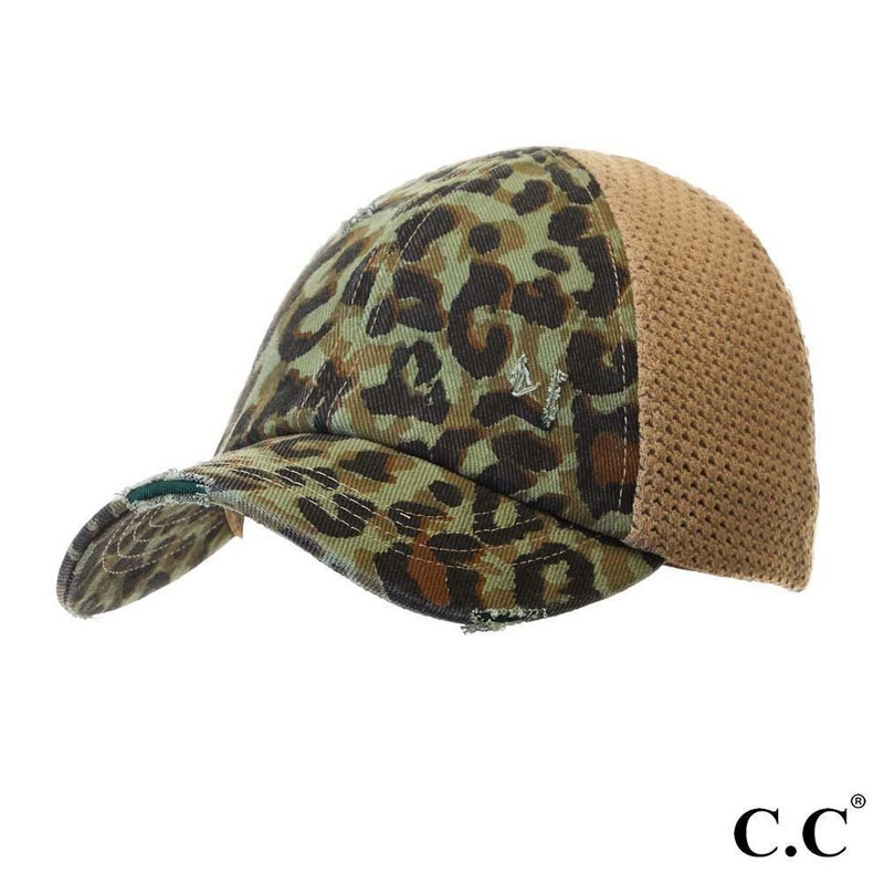 Leopard Print Distressed Baseball Cap with Knit Mesh Back - Sage