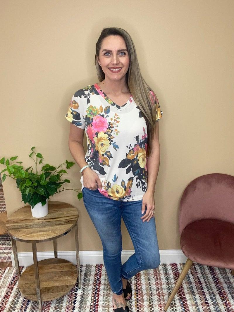 Elena Floral Short Sleeve V Neck Top