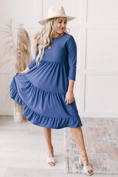 Sara Swiss Dot Dress in Slate Blue