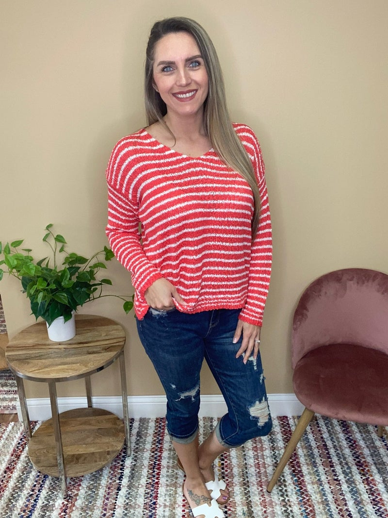 Millie Lightweight Pullover Sweater -Coral