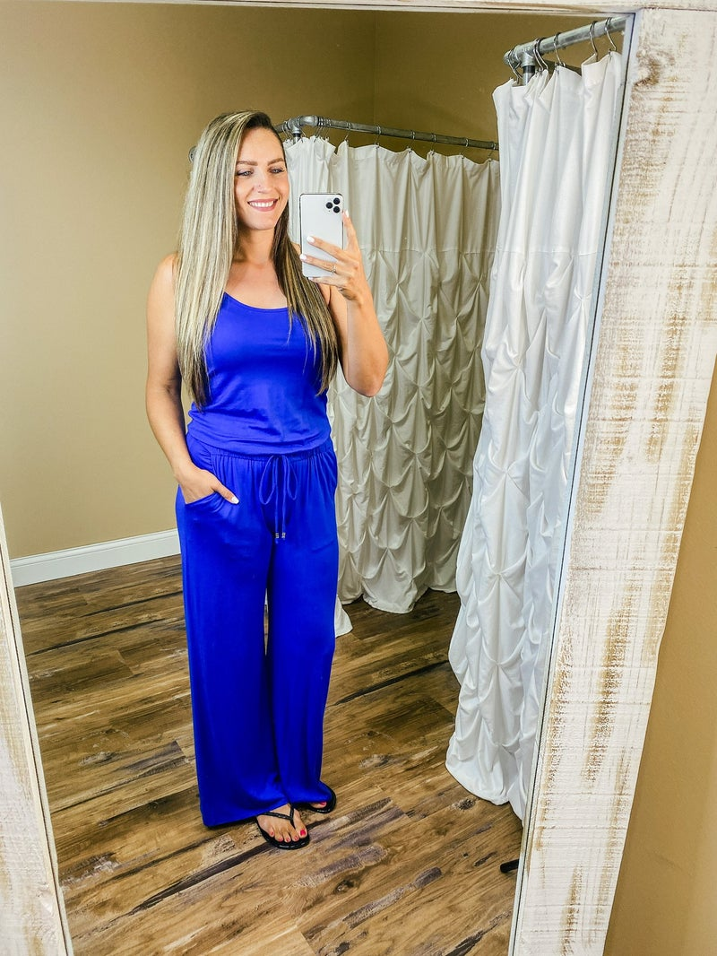 Lillian Solid Jumpsuit with Tie- Royal