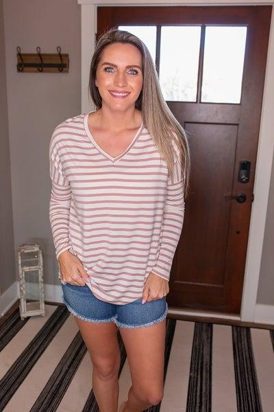 Zoey Striped Dolman Sleeve Top